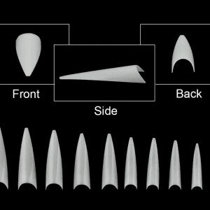Stiletto Nail Tips dimension